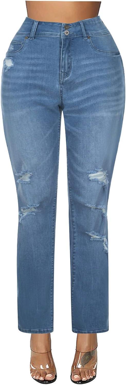 FUNEY Women's Plus Size High Waist Skinny Jeans Fashion Casual Regular Fit Straight Leg Denim Pants with Silk Scarf