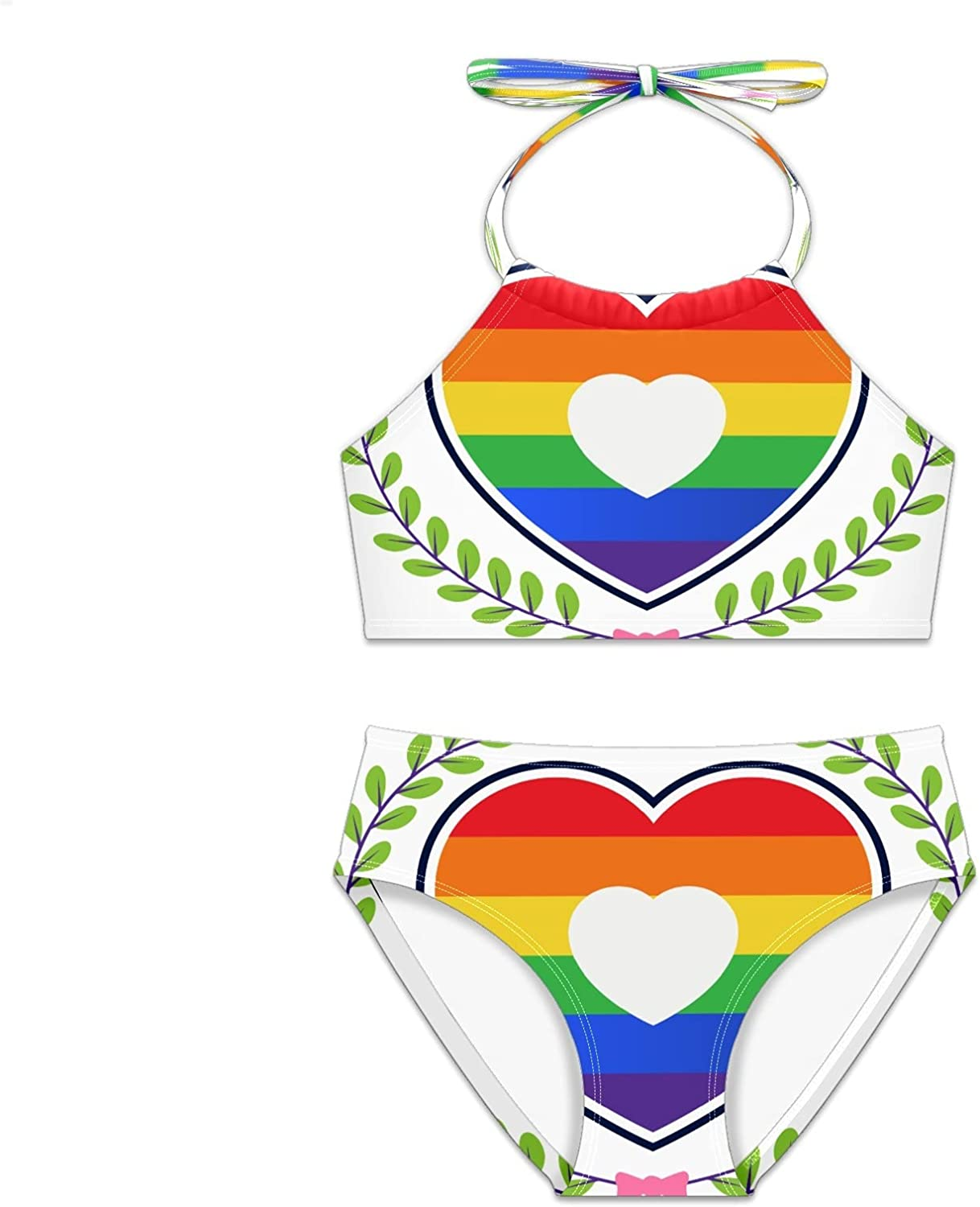 Girls Swimsuit Love Rainbow Heart Manufacturer direct delivery Set Two Bikini Sale price Pieces
