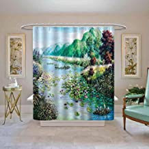 TimBeve Shower Curtain Forest,River Greenery Environment and Forest Colorful Lotus Oil Painting Effect Print,Pale Blue Green Bathroom Long Shower Curtain, W48 x L72