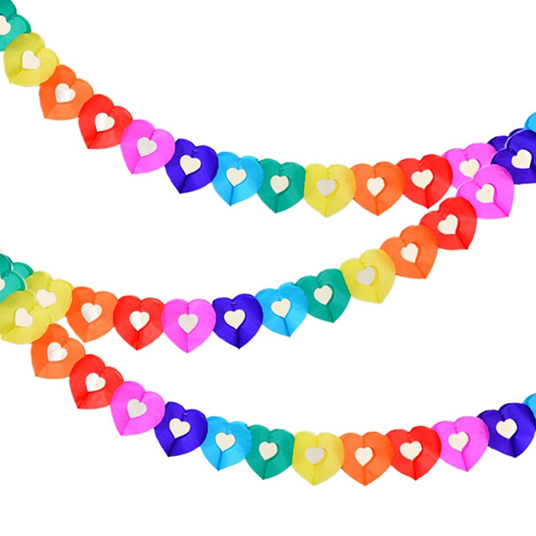 Party Supplies Favors Banners Garland for Kids Party, Colorful Rainbow Tissue Paper Decorations Heart Shape