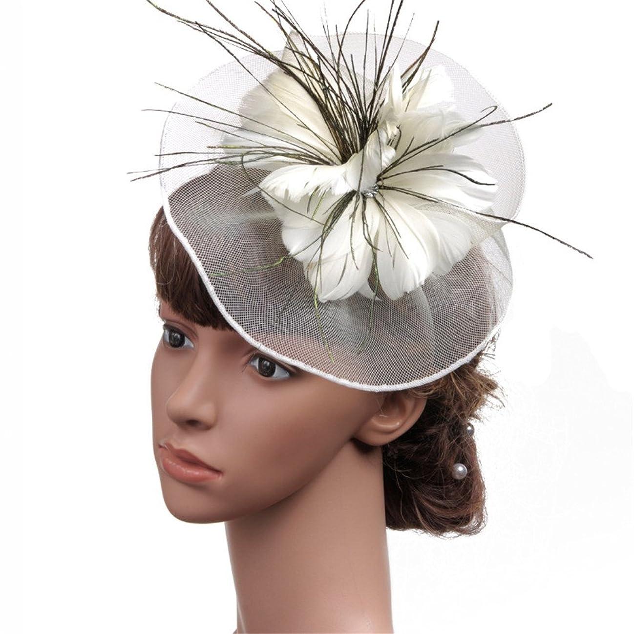 バイアス暴動器用女性の魅力的な帽子 女性のヴィンテージ魅惑的なカクテルティーパーティー帽子羽花ヘアピンヘッドドレス花花嫁パーティーウェディング (色 : 緑)