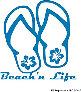 UR Impressions ABlu Beach'n Life Hibiscus Flip Flop Decal Vinyl Sticker Graphics for Cars Trucks SUV Vans Walls Windows Laptop|Azure Blue|5.5 Inch|URI478-AB