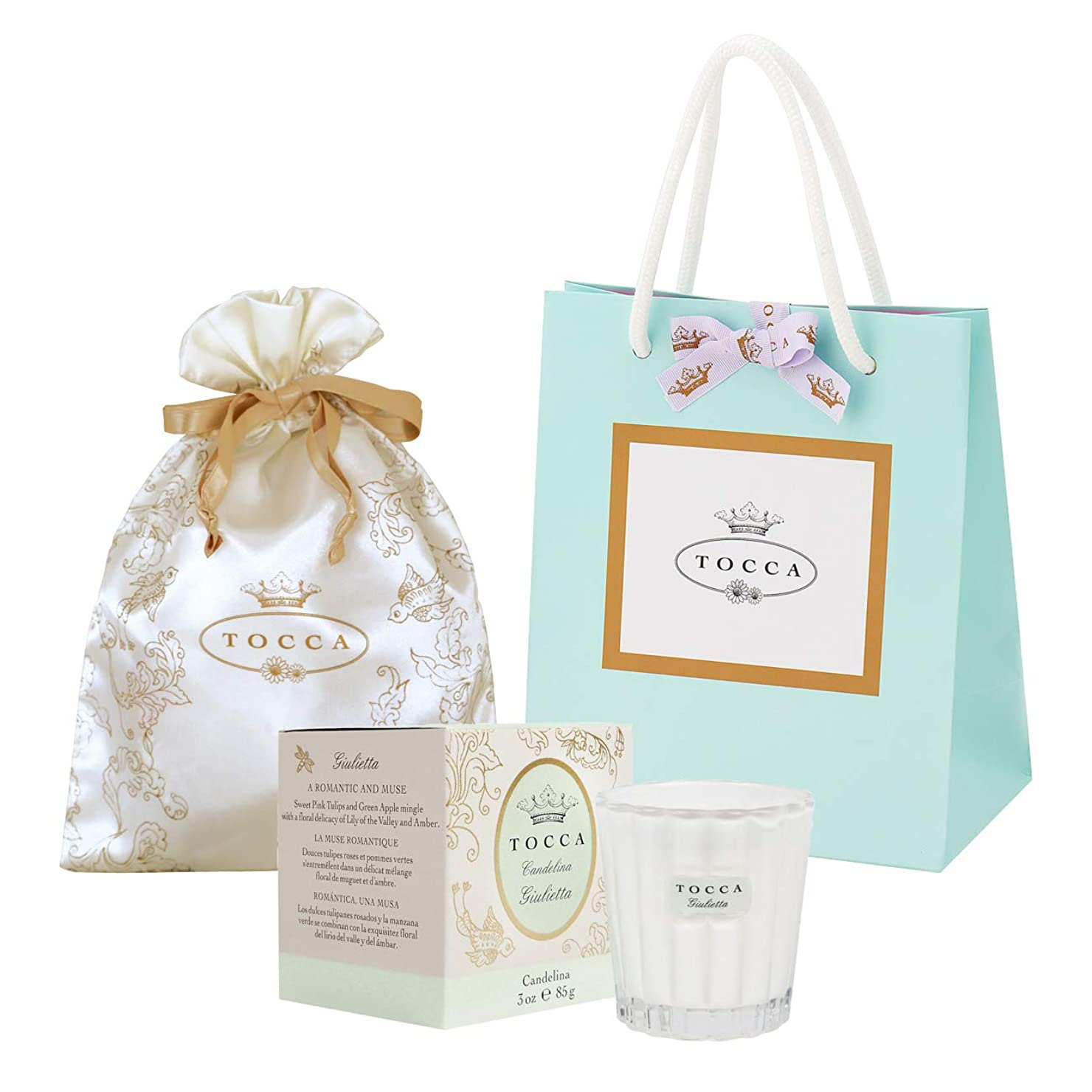 王子名誉メリートッカ(TOCCA) キャンデリーナ ジュリエッタの香り 約85g 巾着&ショッパー付 (キャンドル ろうそく ギフト 手提袋付 爽やかで甘い香り)