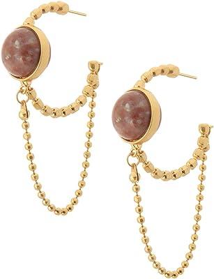 SENCE Copenhagen G688 Boucles d'oreilles pour femme en argent avec opale rose et chaîne Argenté 5 cm