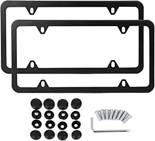 X AUTOHAUX a17081100ux0035 2 Pcs Stainless Steel Car 4 Hole License Plate Frame Holder w/Screw Caps - Black