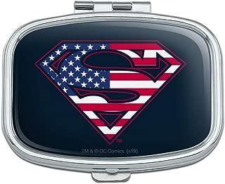 Superman USA American Flag Shield Logo Rectangle Pill Case Trinket Gift Box