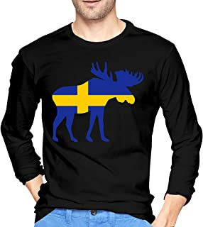 Swedish Flag and Moose Men's Long Sleeve Shirts Cotton Running Tees