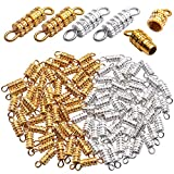 Jewelry Screw Clasps,100pcs Golden Silver Barrel Screw Clasp Column Twist Screw Clasps Brass Screw Fastener Clasp Connector with 2 Hole for DIY Bracelet Necklace Jewelry Making,4x15mm