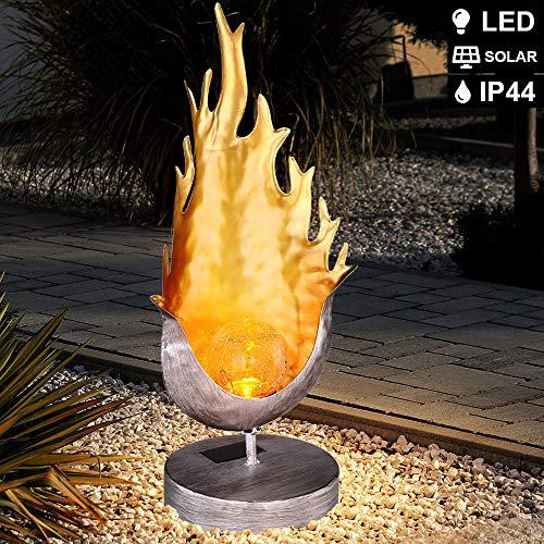 LED Flammen-Design Außen Garten Stehlampe Weg-Leuchte Gold-Silber Beleuchtung H 36,5cm Crackle-Glas Feuer-Effekt Veranda Hof Terrasse