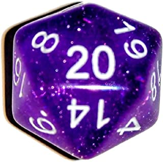Purple Translucent Glitter d20 Initiative Advantage Die for Role-Playing Games. 20 Sided RPG Dice