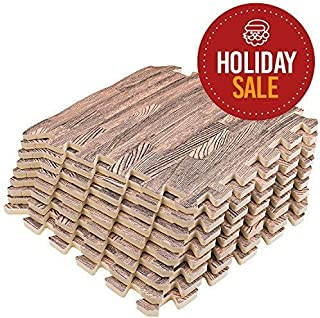 Basics Hardware Interlocking Puzzle Wood Mat (Dark Wood)