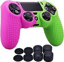 PS4 DUALSHOCK 4 Funda Para Control PlayStation 4 + 8 Grips (Morado y Verde)