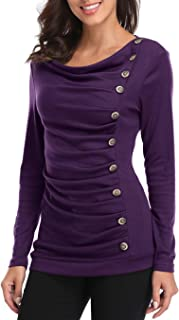 MISS MOLY Women's Purple Button Decor Casual Ruffled Chest T-shirts Blouses Work Home Date Long Tee Tops Shirts XS Size