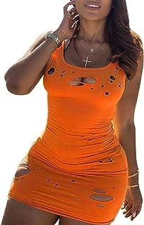 Vestito sexy da donna strappato gilet vestito da discoteca abiti serbatoio casual corto mini abito senza maniche slim cami...