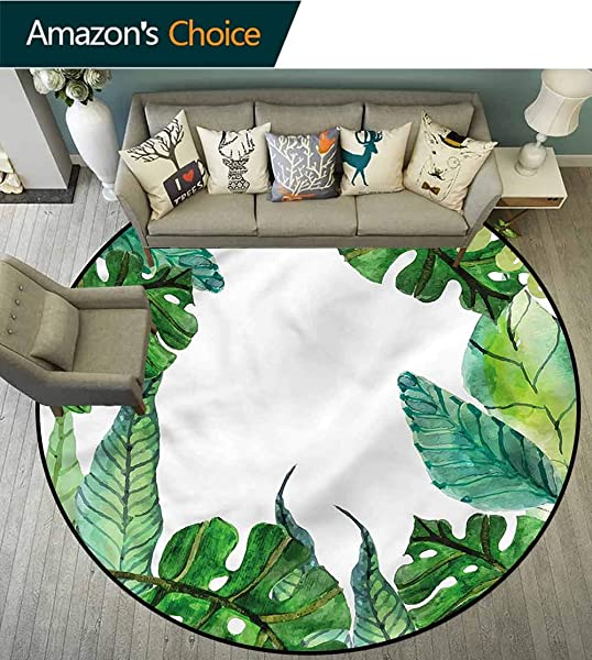 RUGSMAT Leaf Modern Simple Round Rug Garden Botanical Herbal Forest Bedroom Home Shaggy Carpet Diameter 47