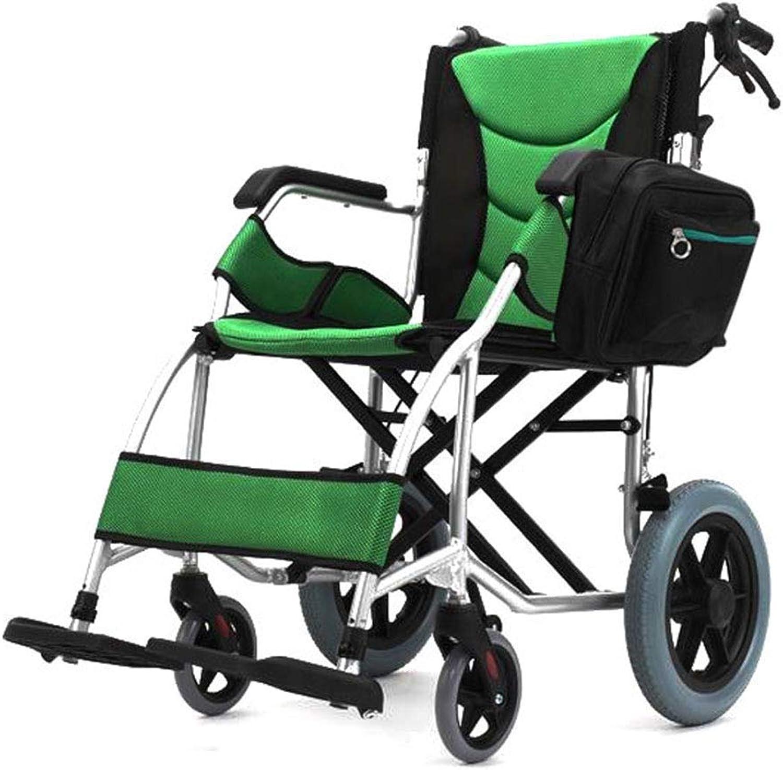KOSHSH Travel Rollstühle, Deluxe Faltgewicht Wagen mit Handbremse, No-Rutsch-Aluminium-Mobilitts-Pflegemittel rot Blare Universalwheel Maximum Gewicht 120 kg