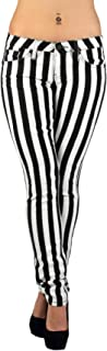 Black & White Striped Classic Sexy Skinny & Bootcut Jeans Junior & Plus Size