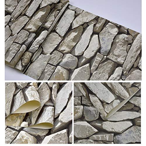 Yubingqin Papel Pintado de Piedra 3D Vinilo PVC Vintage Impermeable Pegatina de ladrillo Retro Restaurante Café Bar Papel Pintado con Textura DIY Decoración de la casa rústica