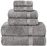 Pleasant Home Juego de toallas de baño – Juego de 6 piezas – 2 toallas de baño, 2 toallas de mano y 2 paños de lavado – 100% algodón – 580 g/m² – Ligero, suave y absorbente – Duradero (gris)