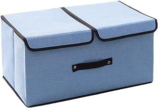 Boîtes de rangement, boîtes de corbeilles avec couvercle et poignées pliables en tissu de lin for organisation, bureau, cr...