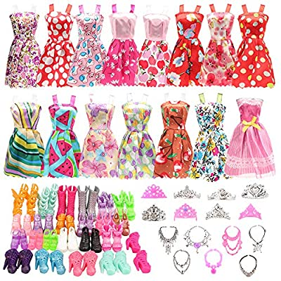 BARWA 32 pcs Doll Clothes and Accessories 10 pcs Party Dresses 22 pcs Shoes, Crown, Necklace Accessories for 11.5 inch Doll from BARWA