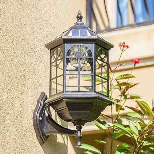 Lámpara solar de pared IP65, resistente al agua, LED, lámpara solar de pared, iluminación regulable, retro, lámpara de pared para jardín, patio, exterior, con mando a distancia, interruptor de imagen