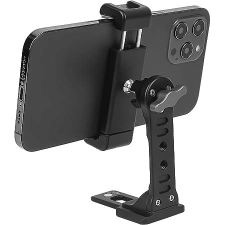 Treppiede in metallo con scarpa fredda, rotazione a 360 gradi, supporto per telefono da scrivania compatibile con iPhone treppiede, adattatore per smartphone Sumsung, morsetto per telefono cellulare