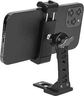 コールドシューズ付き金属電話三脚マウント、Woohoto 360回転電話三脚ホルダーアダプター、デスクトップ携帯電話スタンド、iPhone Sumsungスマートフォンと互換性、携帯電話クランプ、ビデオリグマウン