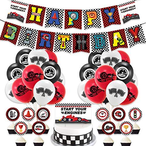 Conjunto de Suministros para la Fiesta,Globo de patrón de coche, Globos de látex cumpleaños Tarjeta de pastel Decoración para Suministros