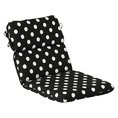 Pillow Perfect Outdoor/Indoor Polka Dot Round Corner Chair Cushion, 40.5  x 21 , Black