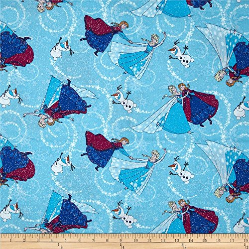 Springs Creative Products Disney Frozen Sisters Ice Skating Toss Glitter Blue Fabric By The Yard