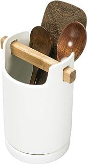 أدوات مائدة مائدة من السيراميك الأبيض الحديث من ماي جيفت مع صينية تصريف ومقبض من خشب أكاسيا
