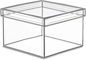 "Design Ideas Lookers Box, 7.3"" x 7.3"" x 4.5"" Soft Vinyl Storage Bin with Lid, Clear PVC Plastic with Metal Wire Frame (Medium)"