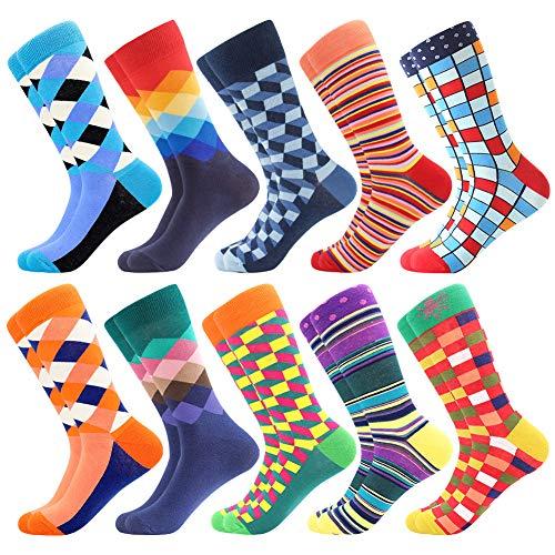 Coloridos Calcetines Para Hombres,Calcetines de Vestir Divertidos, Calcetines de Oficina de Algodón con Estampados Divertidos y Elegantes de Fantasía, Locos Geniales (39-46, 10 Pairs-Pattern22)