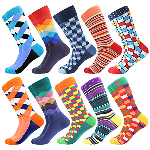 Herren Bunte Lustige Socken, Herren witzige Strümpfe, Fun Gemusterte Muster Socken, Verrückte Socken Modische Mehrfarbig Klassisch als Geschenk, Neuheit Sneaker Crew Socken (10 Paar-Pattern22)
