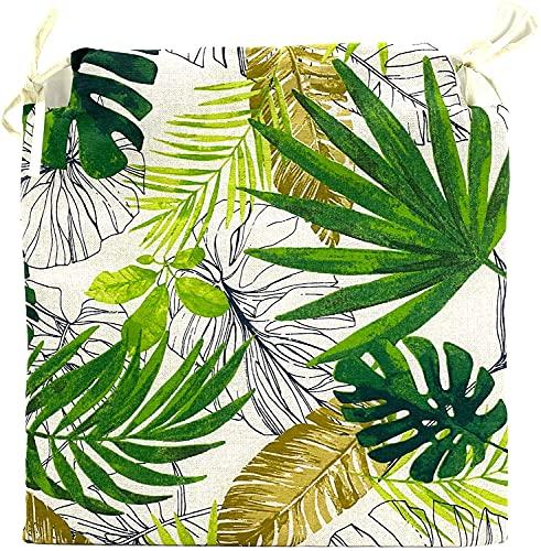 TIENDA EURASIA® Pack de 4 Cojines para Sillas - Estampado Plantas Tropical - 2 Cintas de Sujeción - Ideal para Interiores y Exteriores - 40 x 40 x 3 cm (Verde)