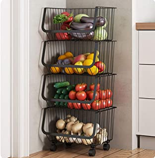 LMDH 4 Niveau métal Panier de Rangement Organisateur de Roue Paniers réglables for Cuisine, Fruits, légumes, Articles de T...
