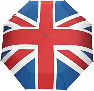 HLive Travel Umbrella UK Flag Auto Open Compact Folding Sun & Rain Protection Umbrella with UV Protection Windproof