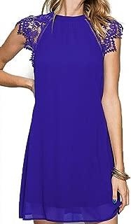 Women's Vintage Round Neck Lace Crochet Sleeve Slim Flare Evening Mini Chiffon Dress