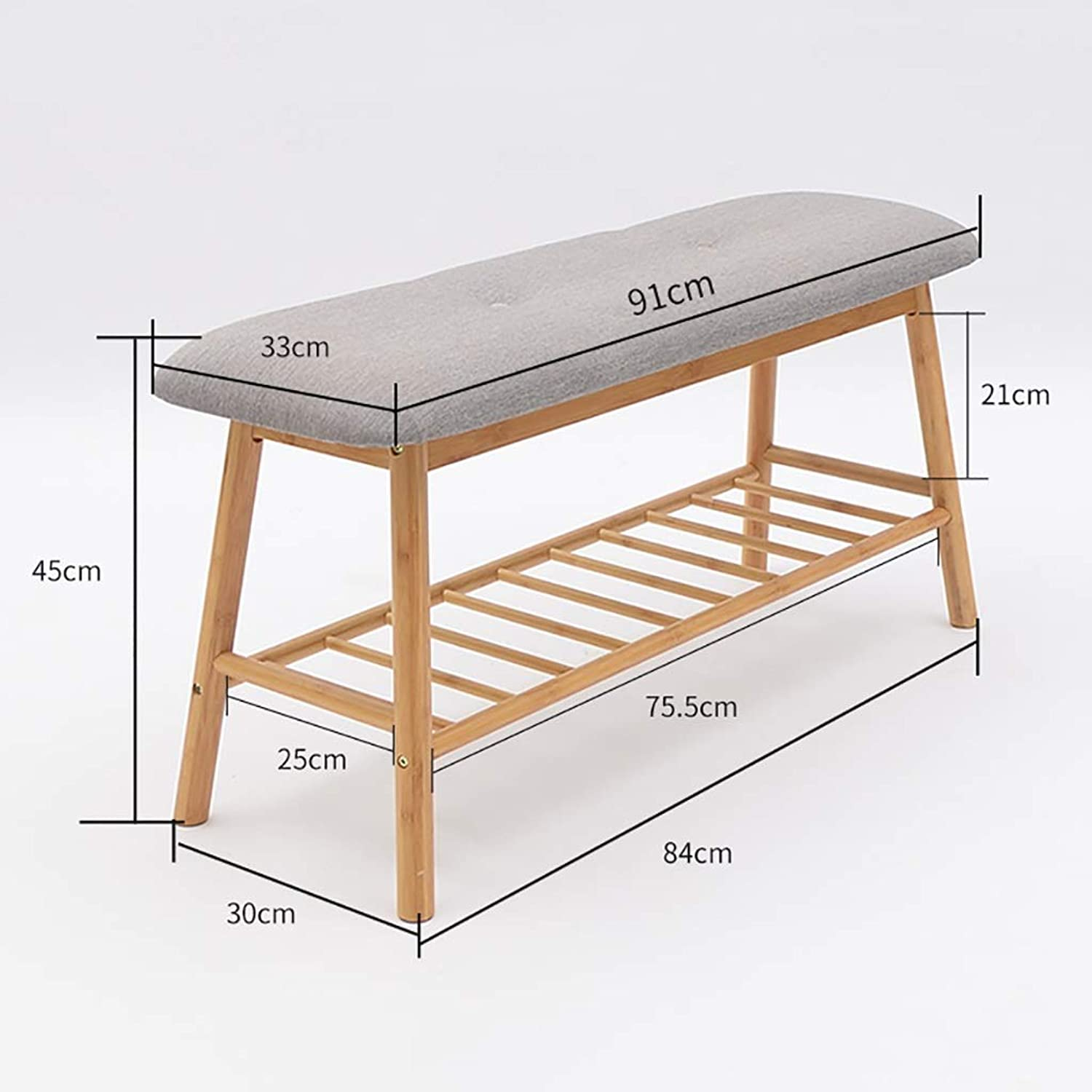 Change shoes Bench shoes Rack shoes Stool Storage Stool Wearing a shoes Bench Bamboo Linen Cushion Home Door (color   A, Size   91  30  45CM)