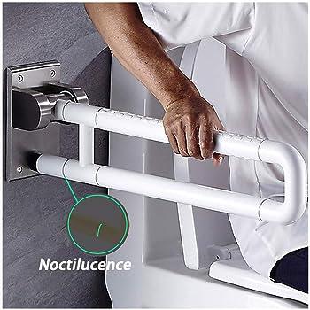 ,White 60cm//23.62in LCAZR Maniglione Ribaltabile Bagno Disabile Maniglia a Viti Maniglione per la Anziani Disabili Maniglione di Sicurezza da Bagno