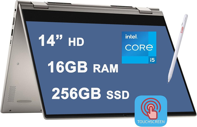 "Dell 2021 Flagship Inspiron 14 5000 5406 2 in 1 Laptop 14"" HD Touchscreen 11th Gen Intel 4-Core i5-1135G7 (Beat i7-10710U) 16GB RAM 256GB SSD Fingerprint USB-C HDMI Win10 + iCarp Pen"