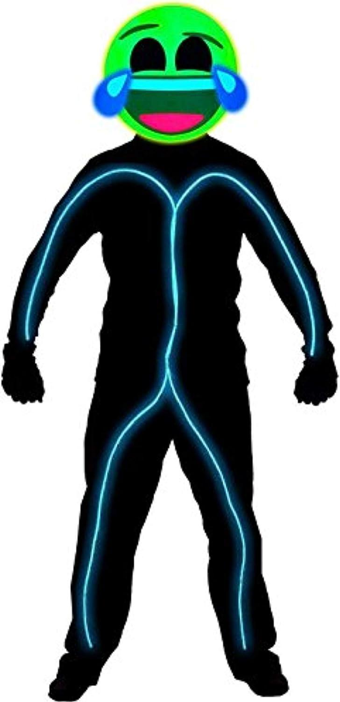 GlowCity Light Up Laughing Emoji Stick Figure Costume  Clothing Not Included (Aqua, Medium 56 FT Tall)