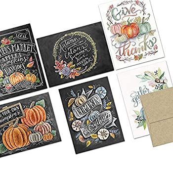 Note Card Cafe Thanksgiving Greeting Card Set with Envelopes   72 Pack   Blank Inside Glossy Finish   6 Pumpkin Everything Designs   Bulk Set for Greeting Cards Occasions Birthdays