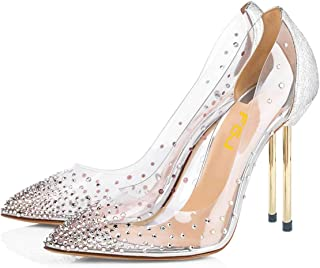 Women Studded Pointed Toe Transparent Pumps High Heels Shoes with Cute Bowknot US Size 4-15 M