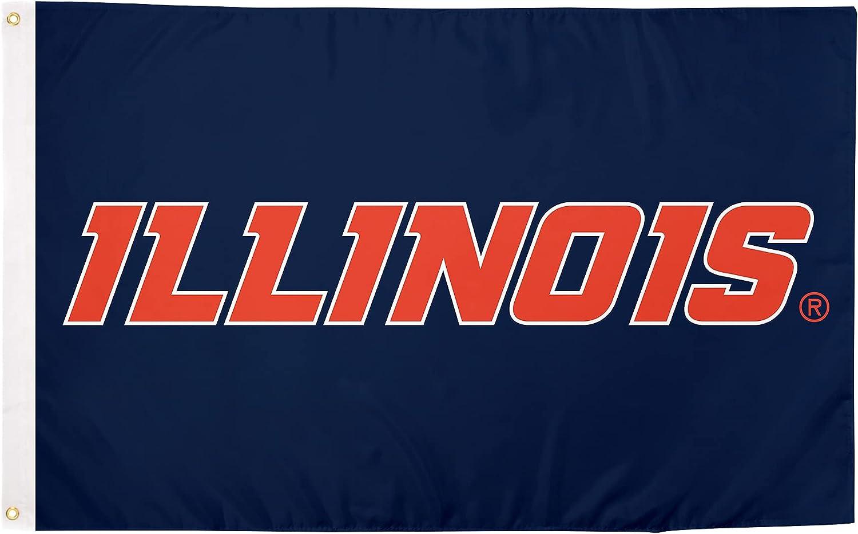 University of Illinois Fighting Illini U of I 100% Polyester Indoor Outdoor 3 feet x 5 feet Flag (Flag 4)