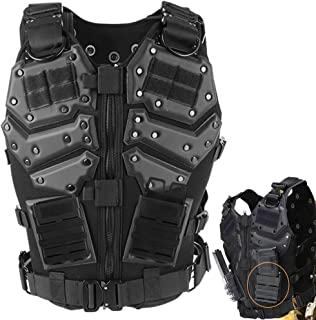 ActionUnion Airsoft Molle Tactical Vests Military Costume with Pouches Plates Chest Protector Paintball Vest CS Field Outdoor Combat Training Special Forces Adjustable (Vest+2pcs 5.56 Fast mag Pouch)