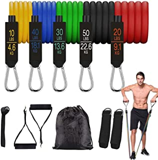 11pcs Fitness Insanity Resistance Bands Set for Men Women Pull Up Exercise Bands Ankle Straps Door Anchor Portable Home Gy...