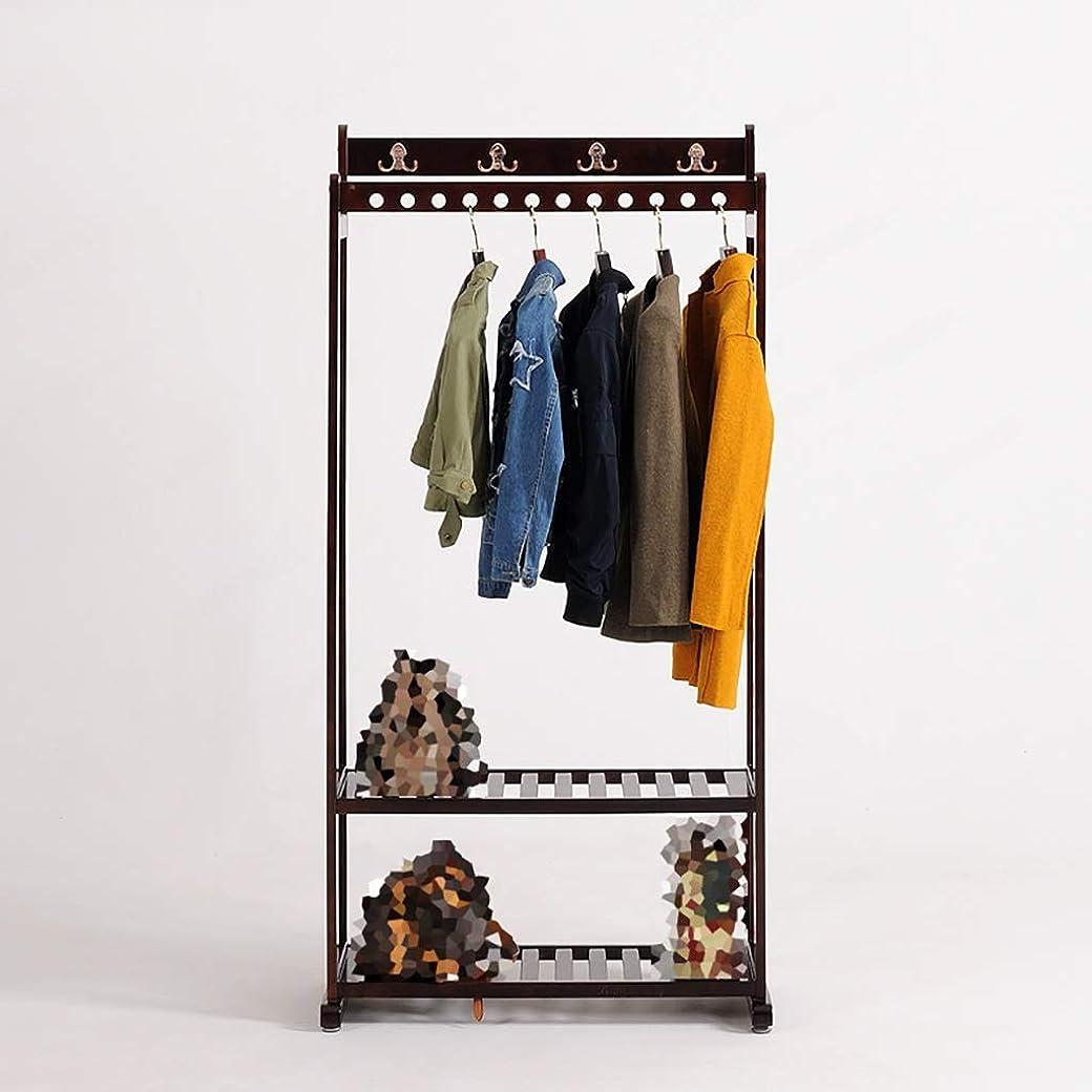 認証飢饉クライマックスハンガーラック, シンプルコートラックベッドルームフロアハンガー-すべての木製素材ダブルハンガー