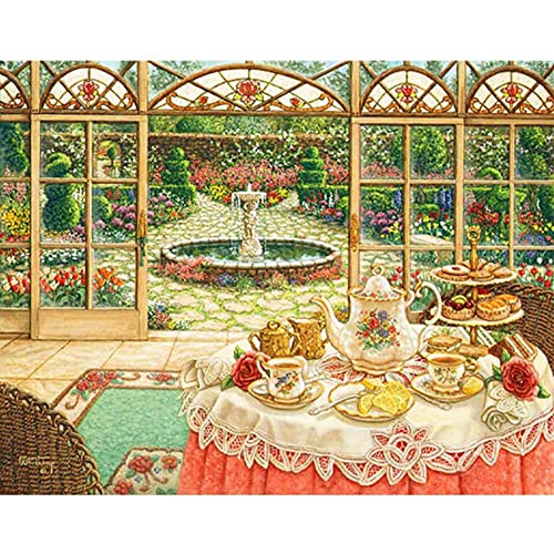 Pittura diamante 5D fai da te paesaggio casa fiorita giardino pittura diamante pittura diamante ricamo set mosaico pittura a5 40x50 cm